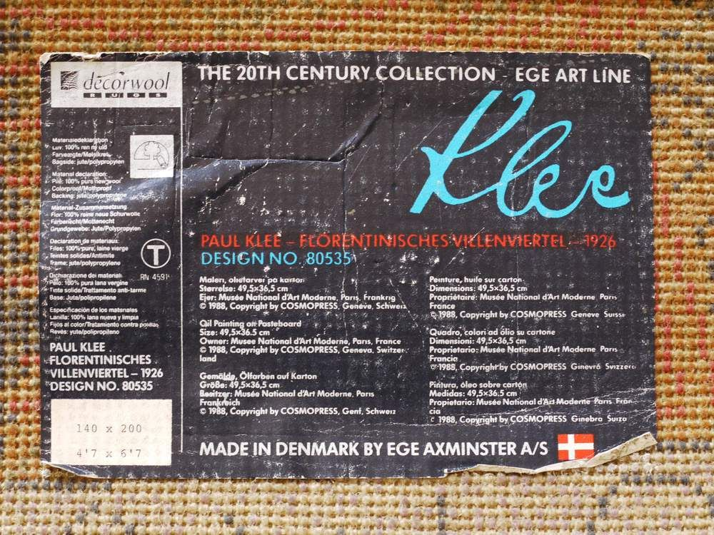 Dänischer Teppich mit Paul Klee Muster von Ege Axminste