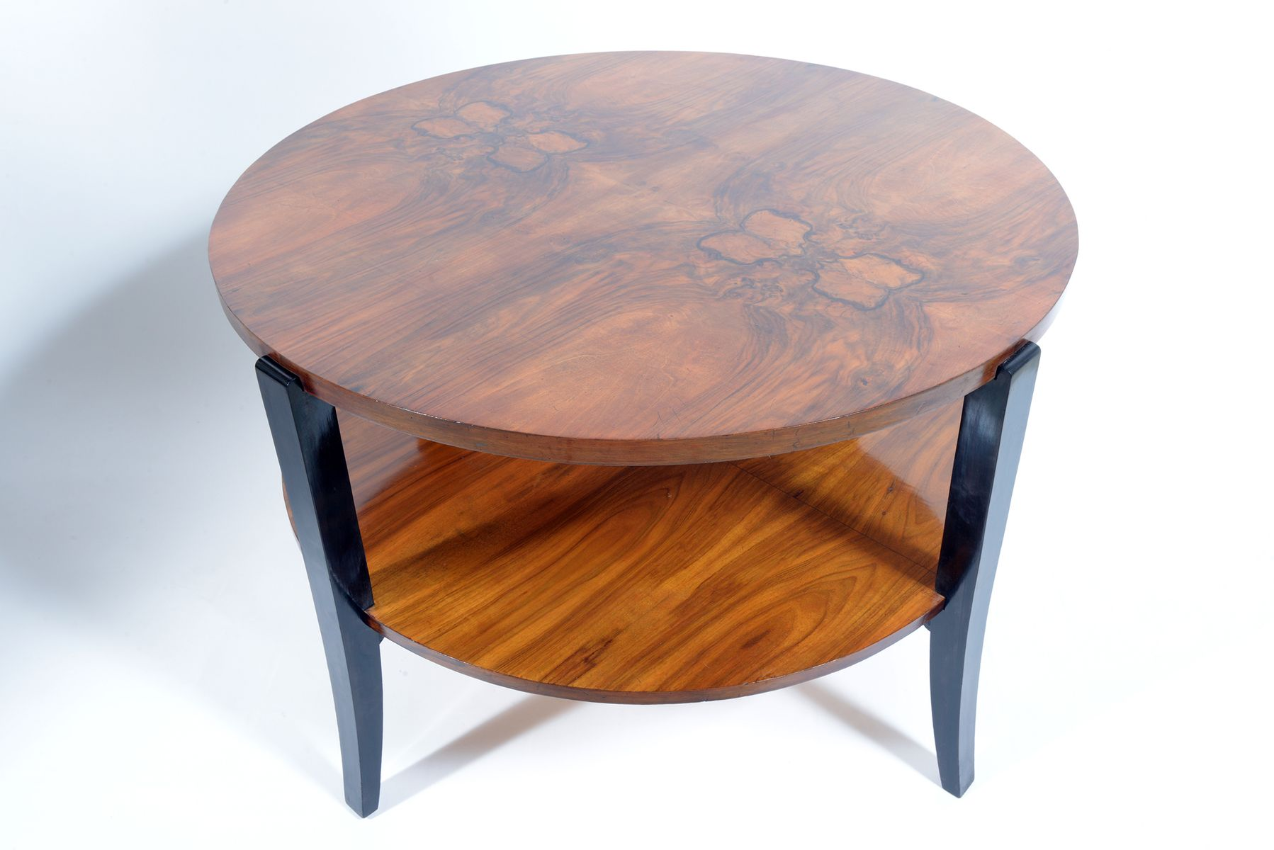 Large Round Two Tiered Art Deco Burl Walnut Coffee Table 1935 For Sale At Pamono