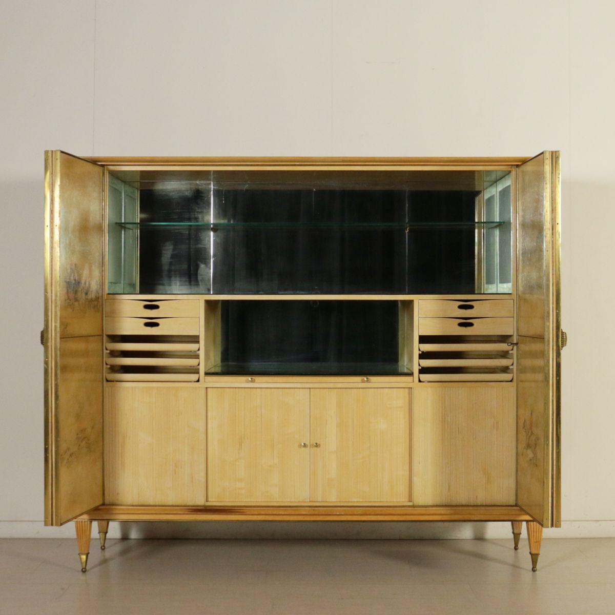 italienischer ahorn buchenholz schrank mit barfach 1950er bei pamono kaufen. Black Bedroom Furniture Sets. Home Design Ideas