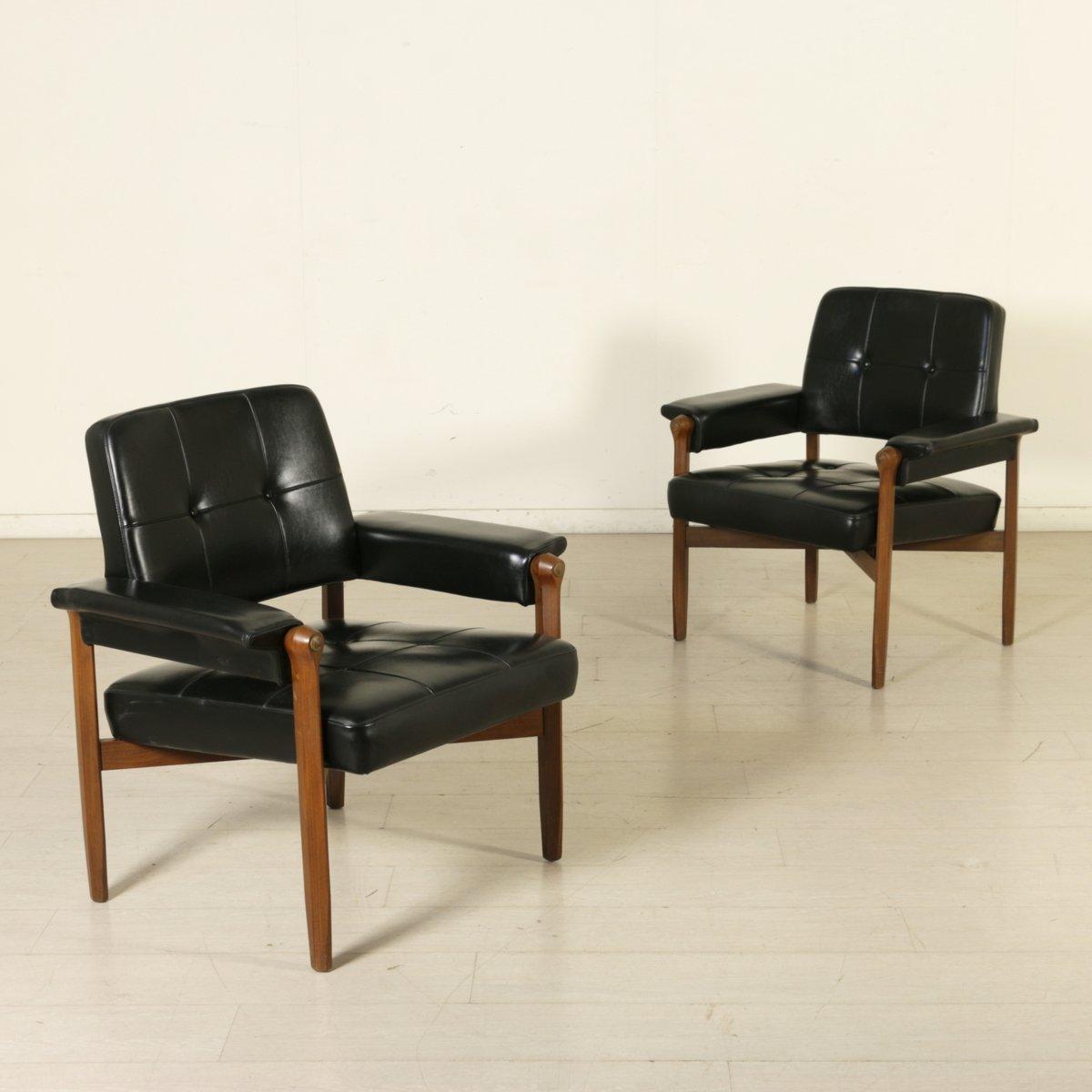 Mid Century Italian Teak Amp Leatherette Armchairs Set Of 2