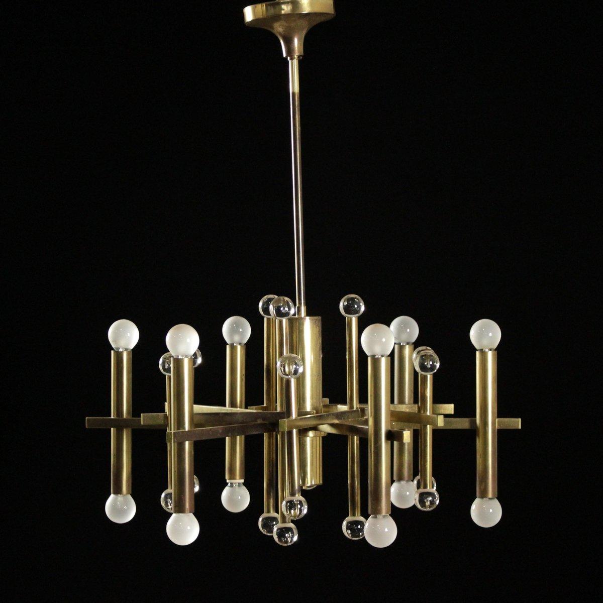 Vintage Italian Brass Glass Chandelier 1960s For Sale