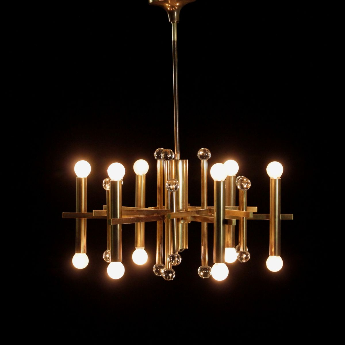 chandelier vintage en laiton verre italie 1960s en vente sur pamono. Black Bedroom Furniture Sets. Home Design Ideas