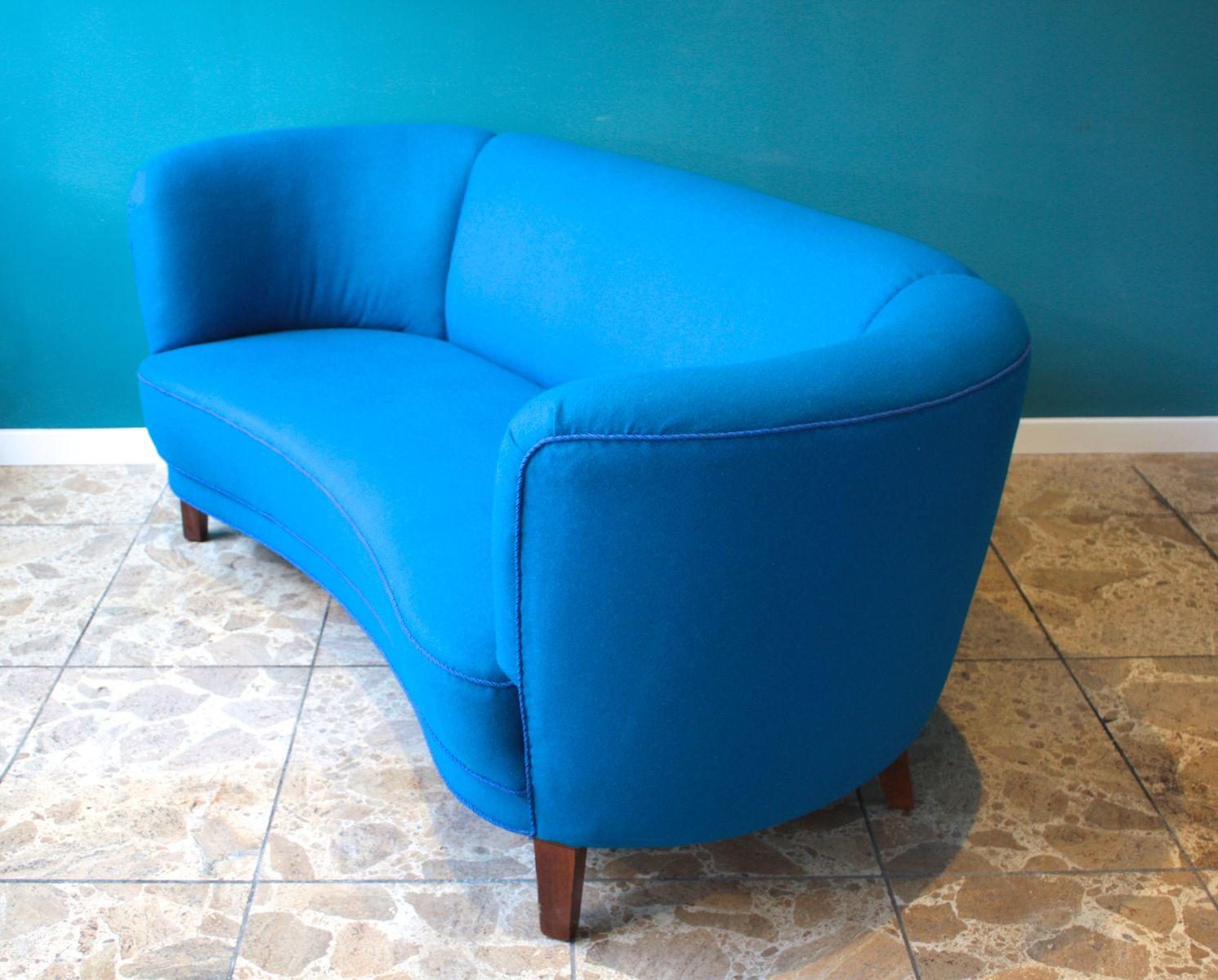 blaues d nisches gebogenes sofa 1940er bei pamono kaufen. Black Bedroom Furniture Sets. Home Design Ideas