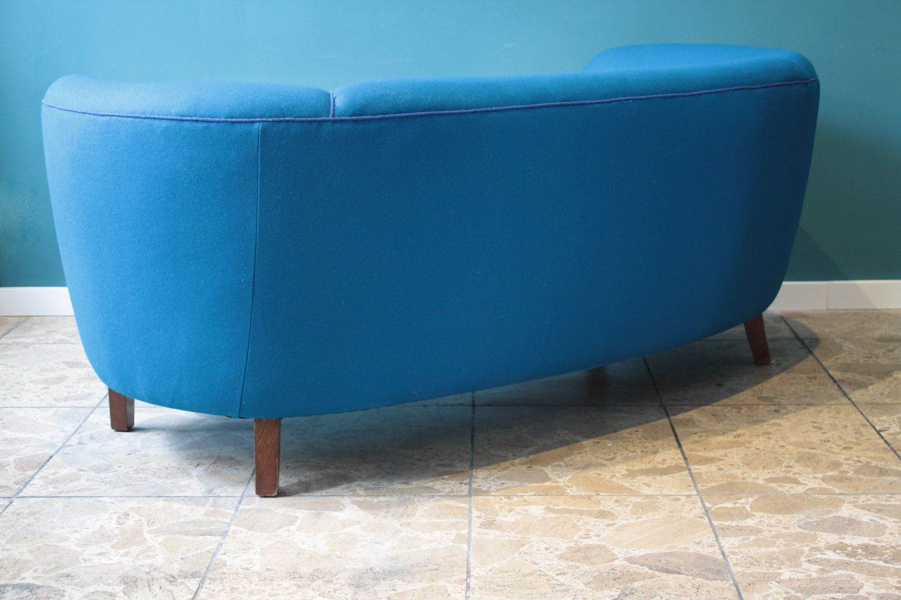Blue Danish Banana Shaped Sofa 1940s For Sale At Pamono