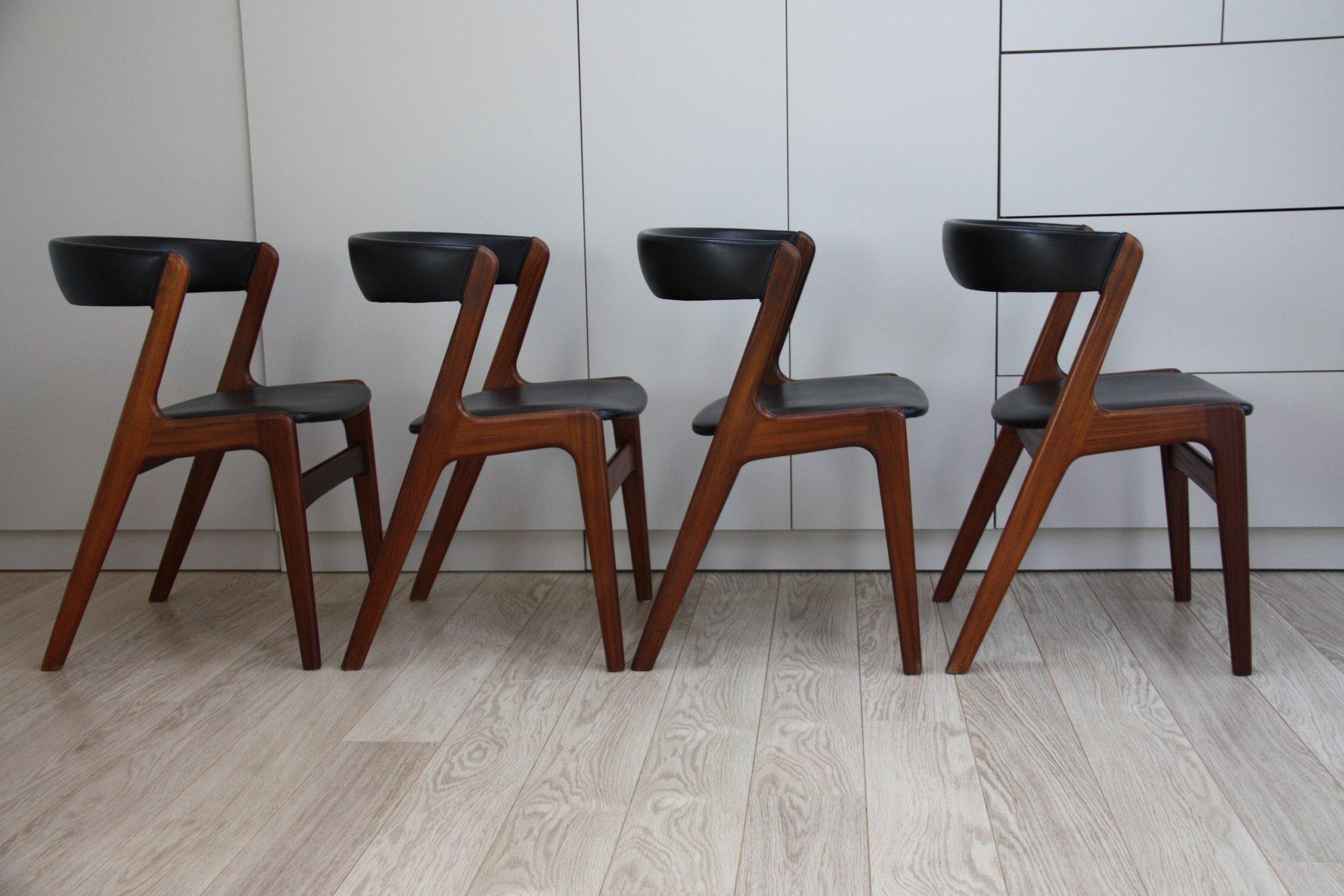 ausziehbarer vintage esstisch mit 4 st hle aus teak von. Black Bedroom Furniture Sets. Home Design Ideas