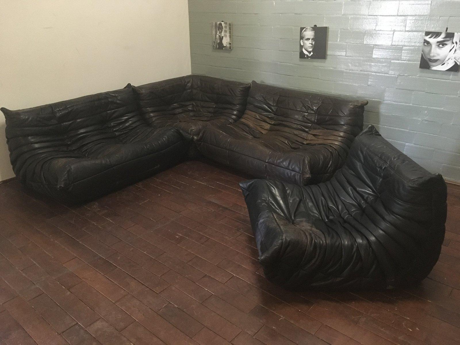schwarz braunes togo ledersofa set von michel ducaroy f r. Black Bedroom Furniture Sets. Home Design Ideas