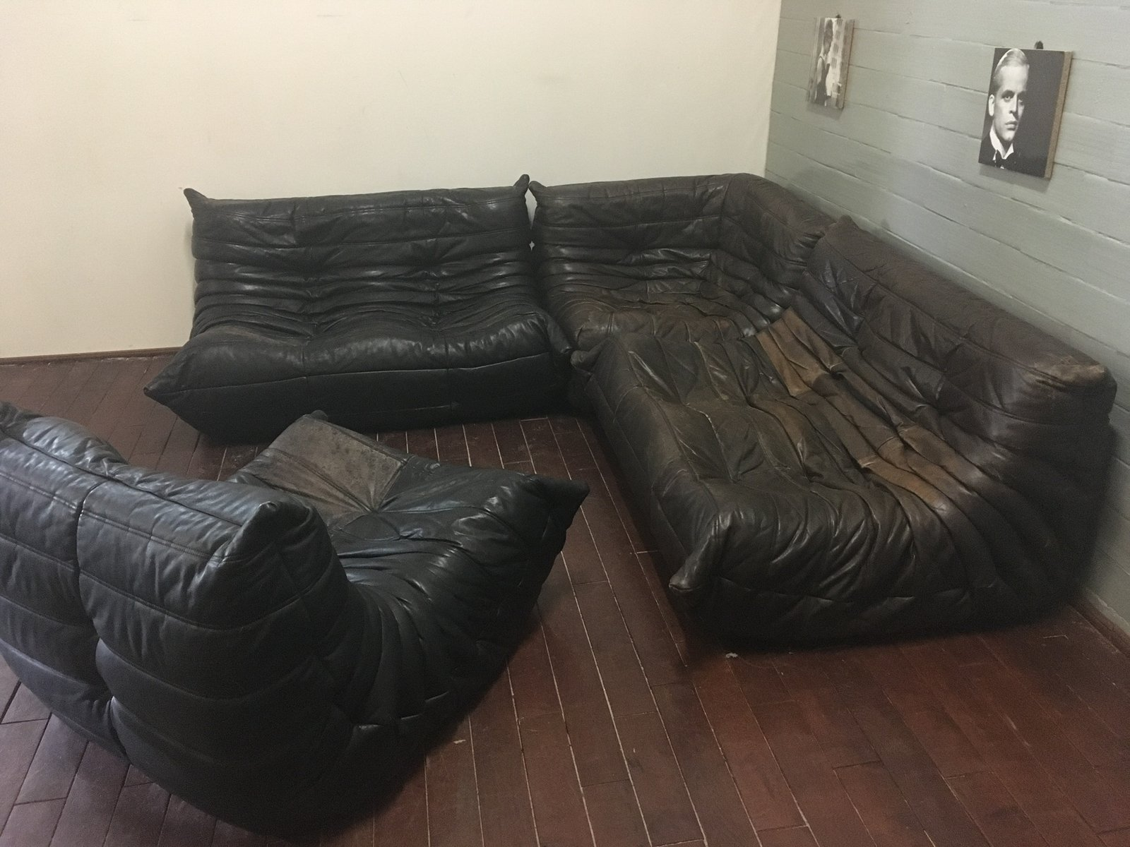 Black/Brown Leather Togo Sofa Set By Michel Ducaroy For Ligne Roset