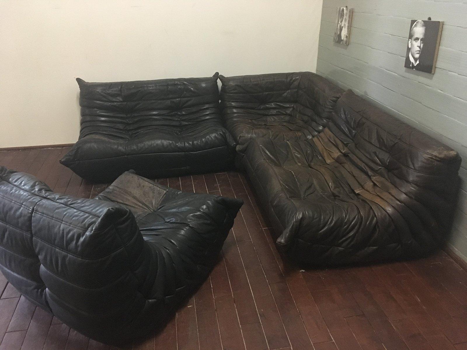 set de canap s togo en cuir noir gris par michel ducaroy pour ligne roset en vente sur pamono. Black Bedroom Furniture Sets. Home Design Ideas