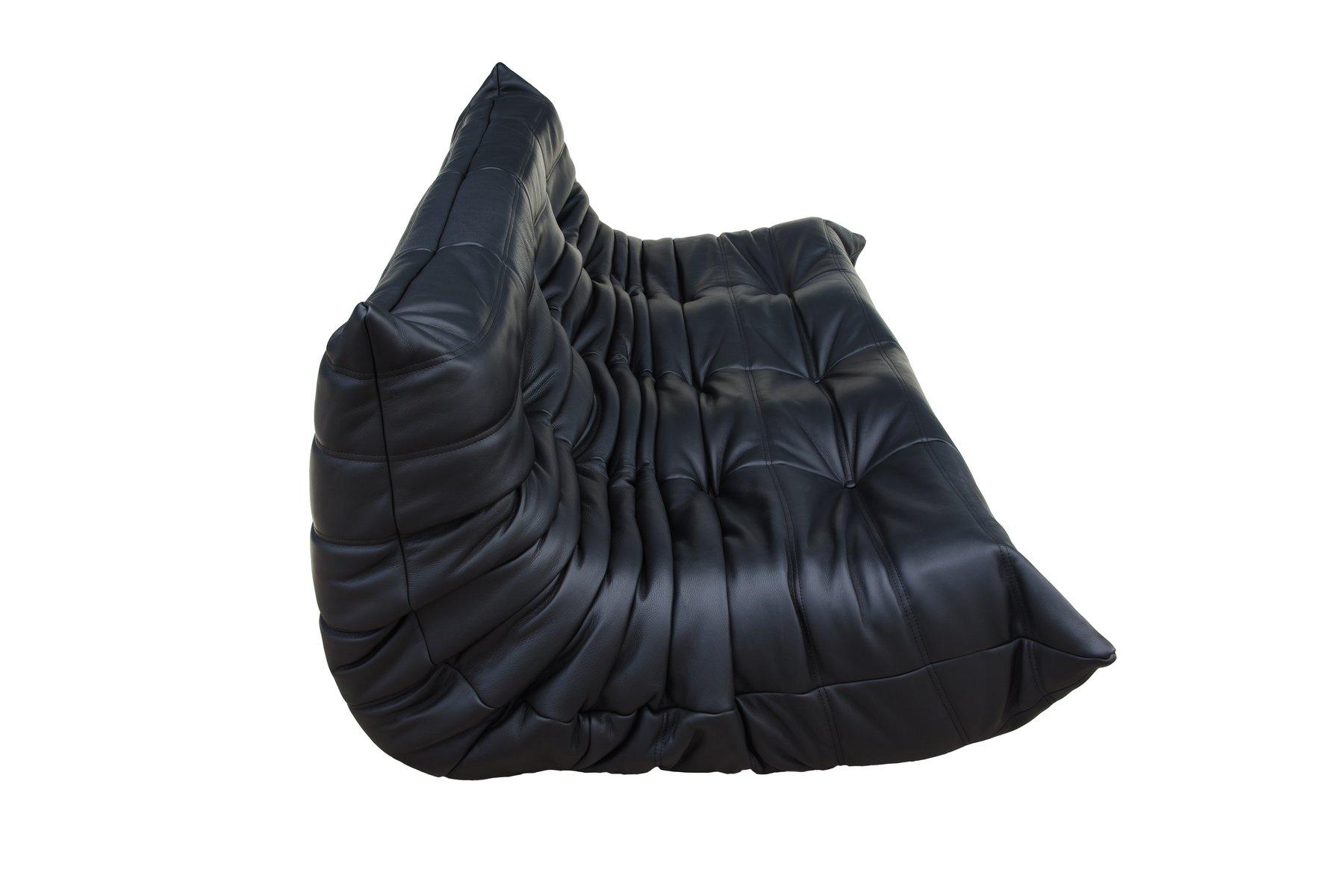 schwarzes 3 sitzer togo ledersofa von michel ducaroy f r. Black Bedroom Furniture Sets. Home Design Ideas