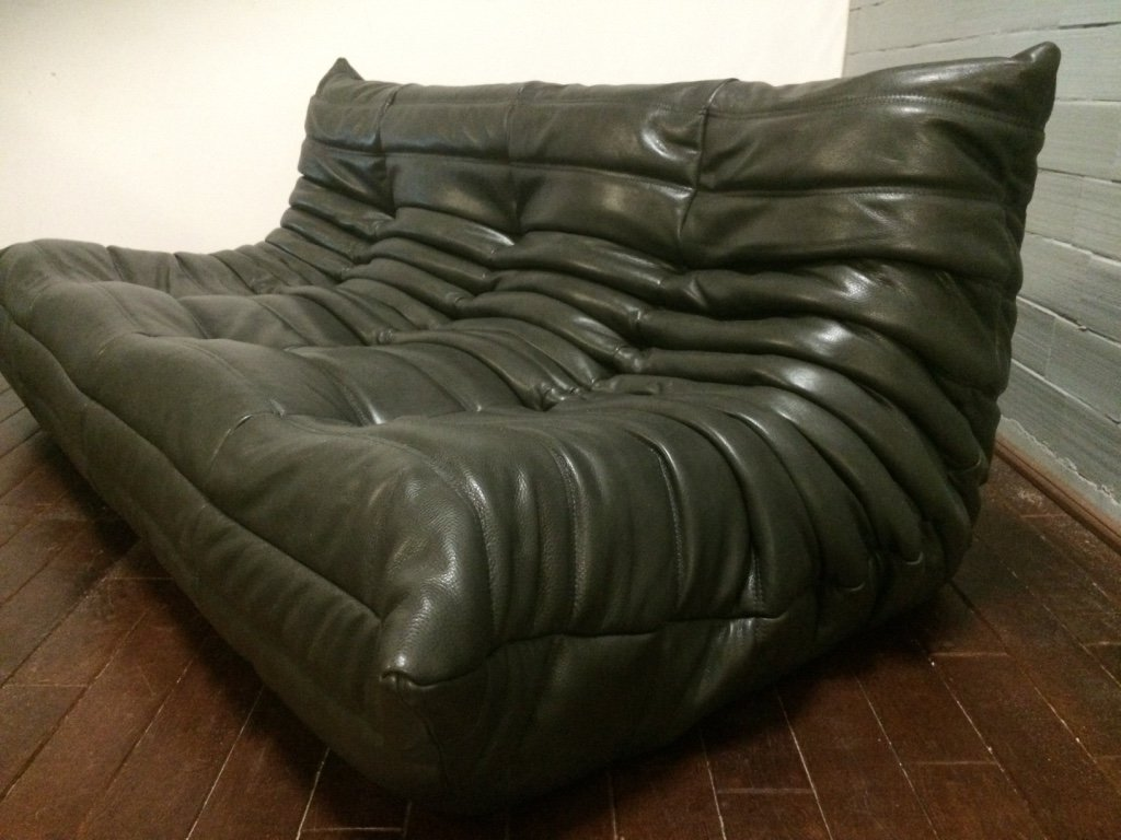 dark olive 3 seater leather togo sofa by michel ducaroy. Black Bedroom Furniture Sets. Home Design Ideas