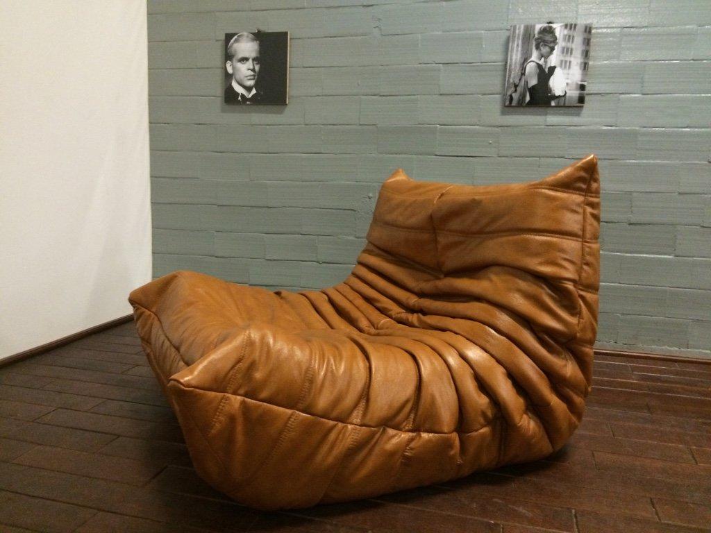 cognacfarbenes leder togo wohnzimmer set von michel ducaroy f r ligne roset 1970er bei pamono. Black Bedroom Furniture Sets. Home Design Ideas