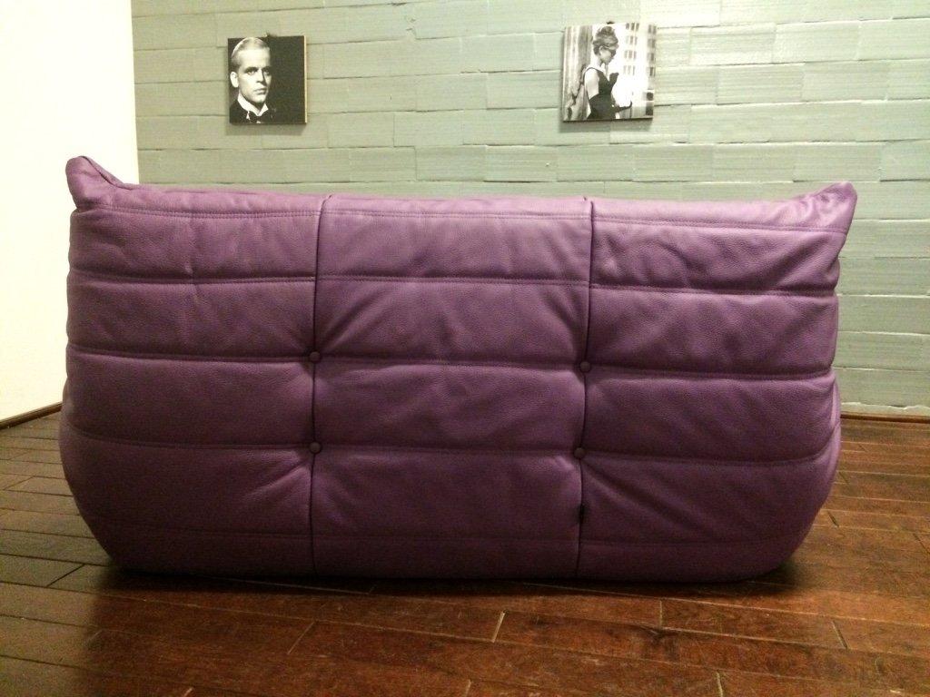 violett leather 2 seater togo sofa by michel ducaroy for. Black Bedroom Furniture Sets. Home Design Ideas