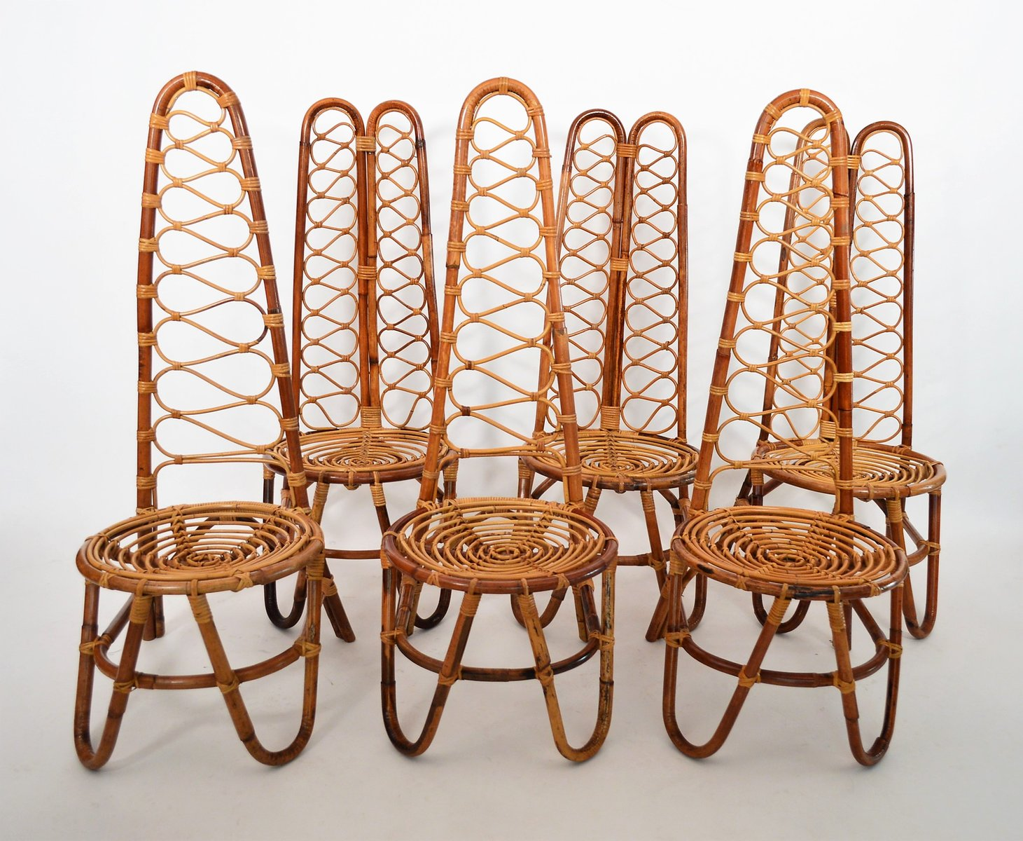 mid-century bamboo chairs, 1975, set of 6 for sale at pamono