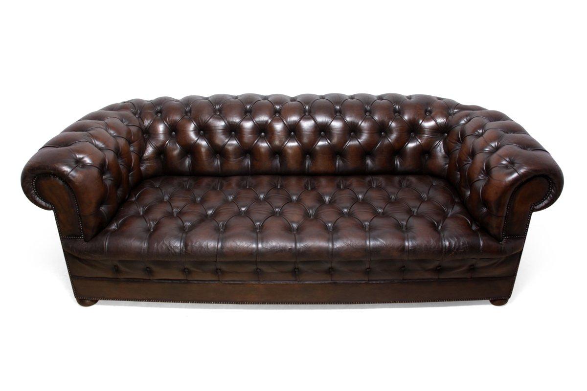 canap chesterfield vintage en cuir marron 1960s en vente. Black Bedroom Furniture Sets. Home Design Ideas