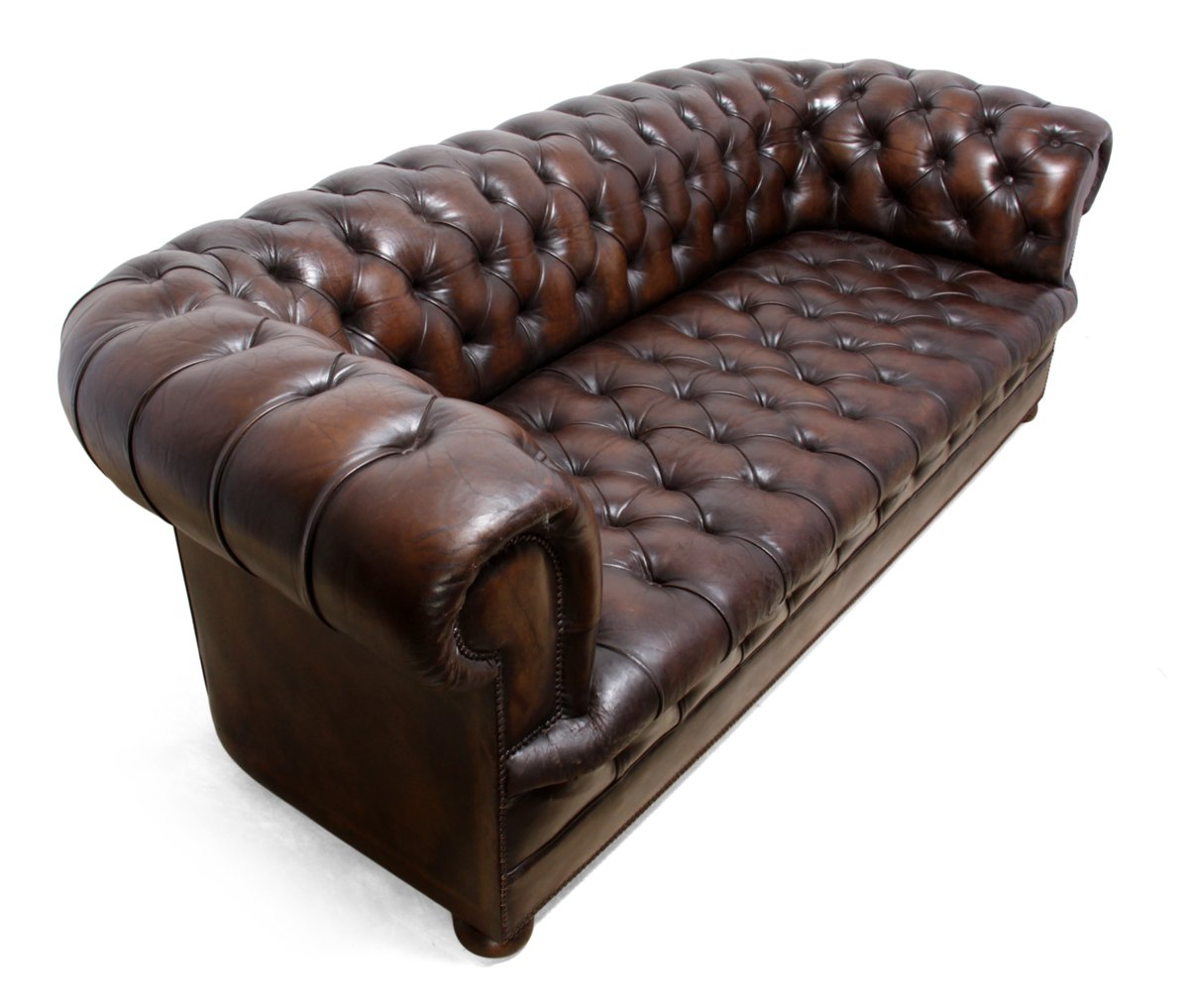 canap chesterfield vintage en cuir marron 1960s en vente sur pamono. Black Bedroom Furniture Sets. Home Design Ideas
