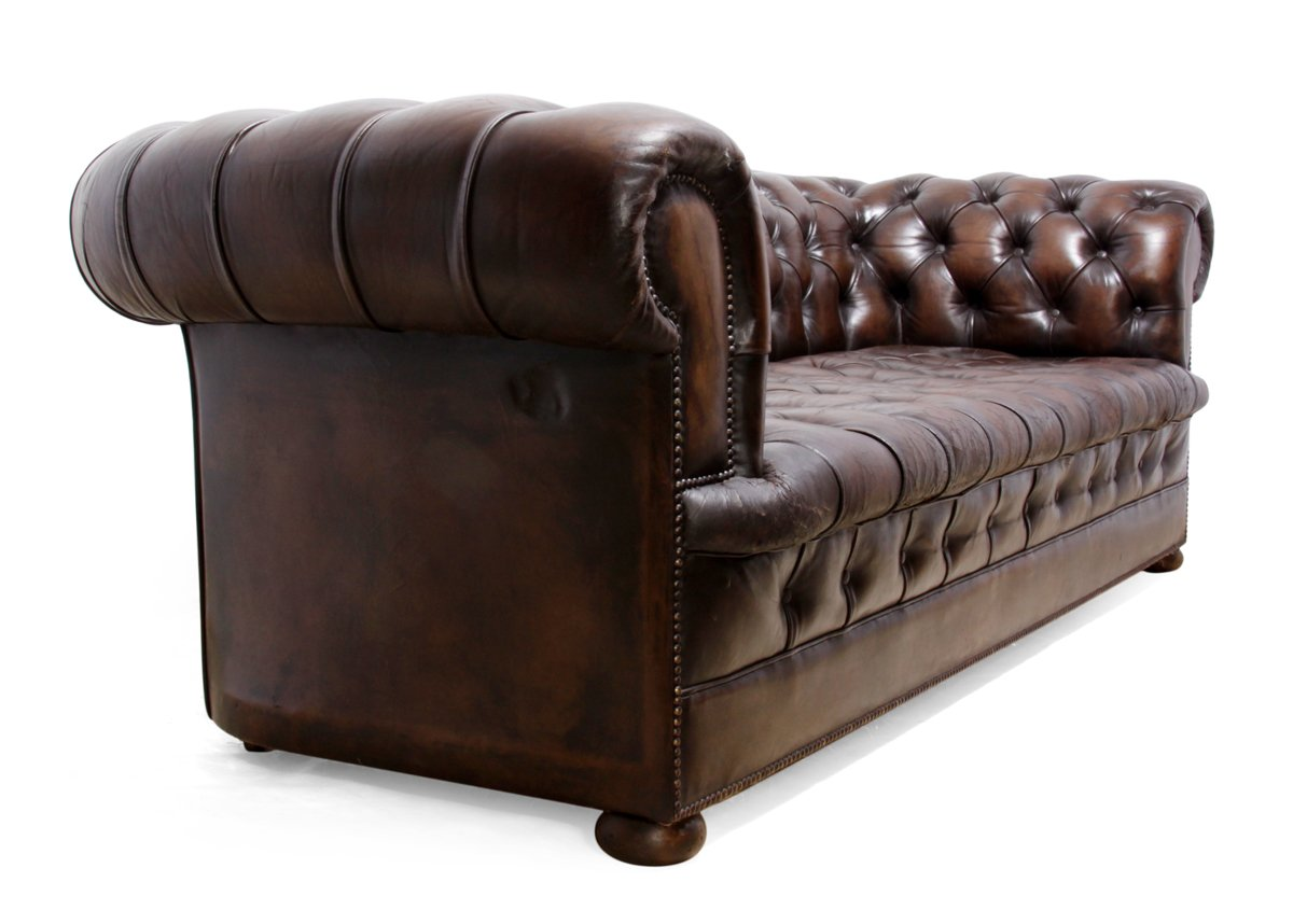 Vintage Brown Leather Chesterfield Sofa 1960s For Sale At