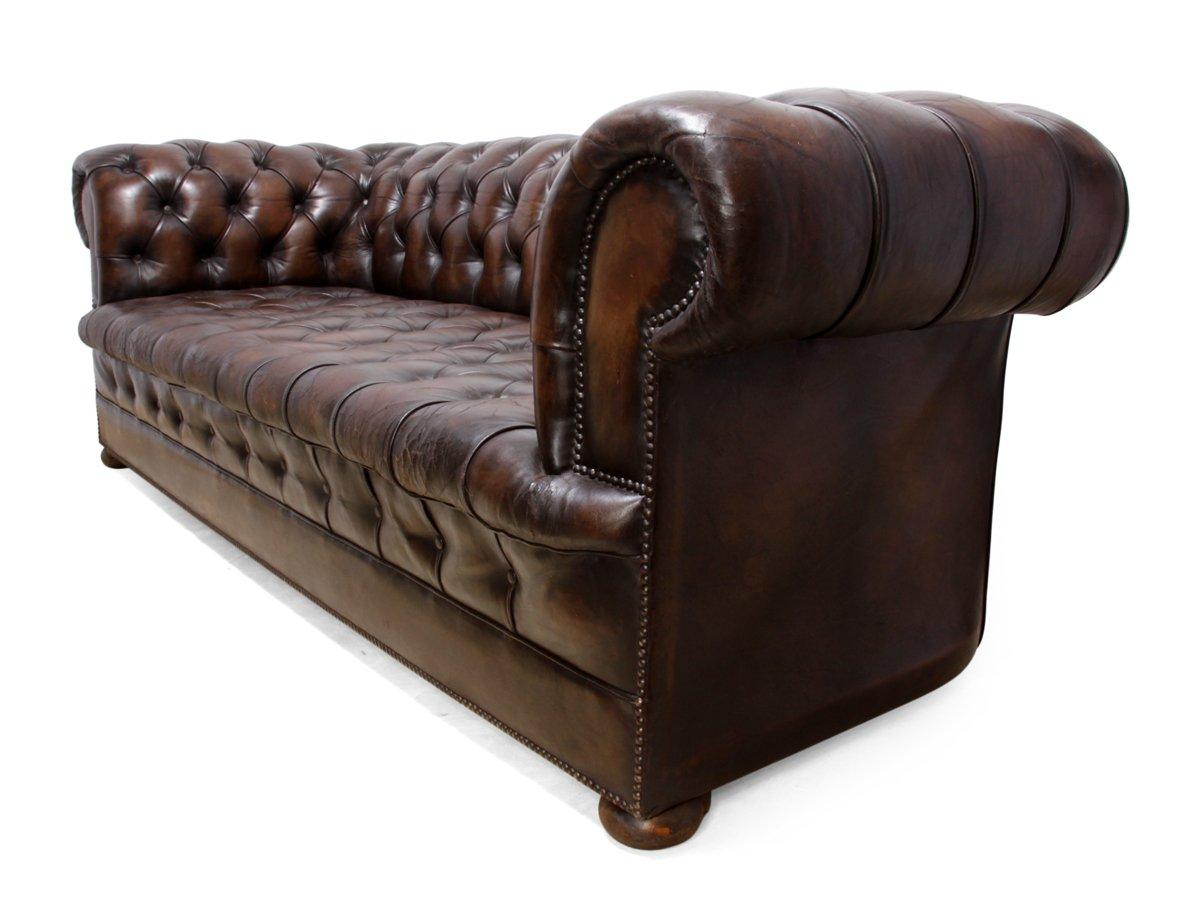 canap chesterfield vintage en cuir marron 1960s en vente sur pamono. Black Bedroom Furniture Sets. Home Design Ideas