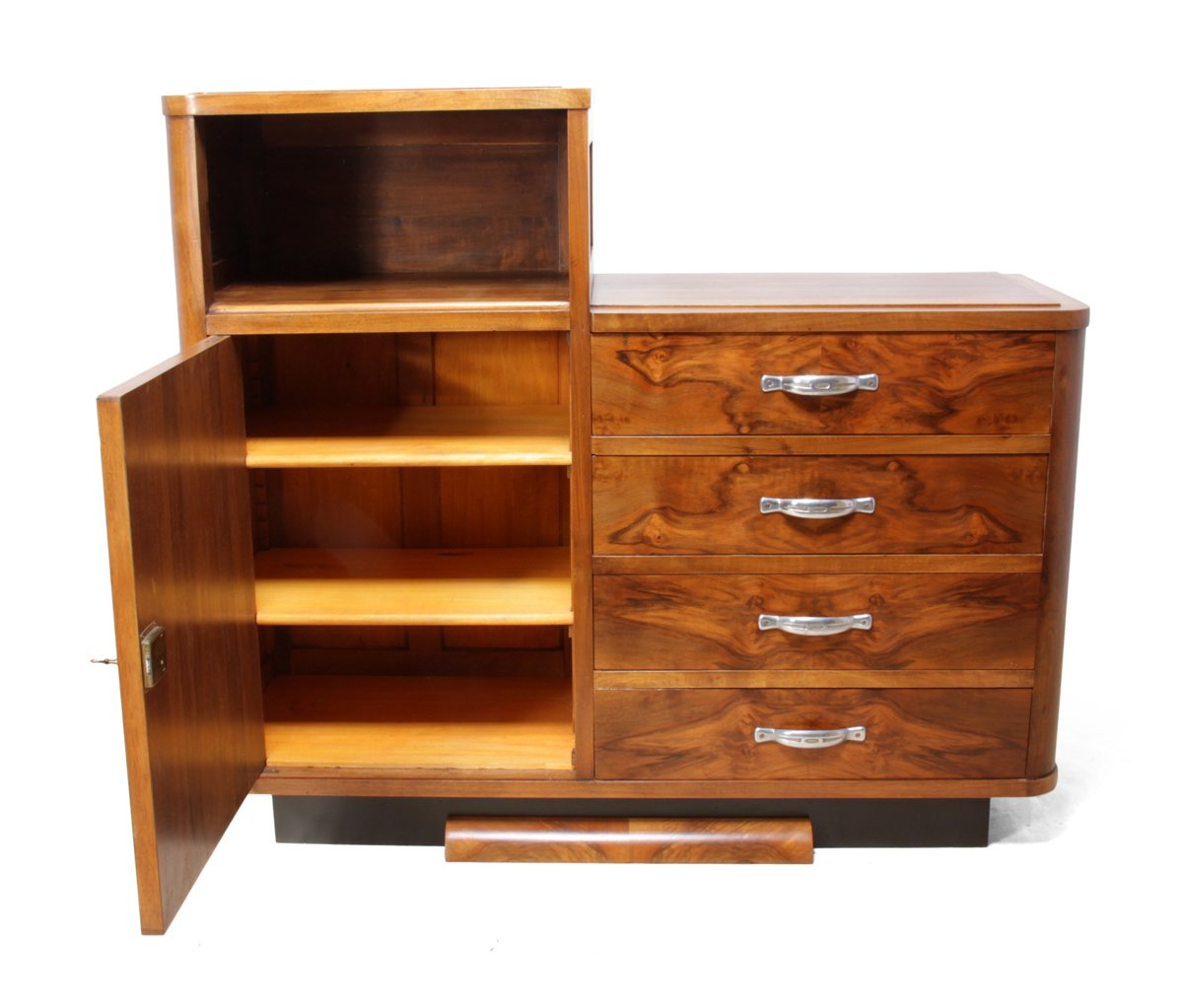 Art deco walnut cabinet 1930s for sale at pamono for 1930s kitchen cabinets for sale