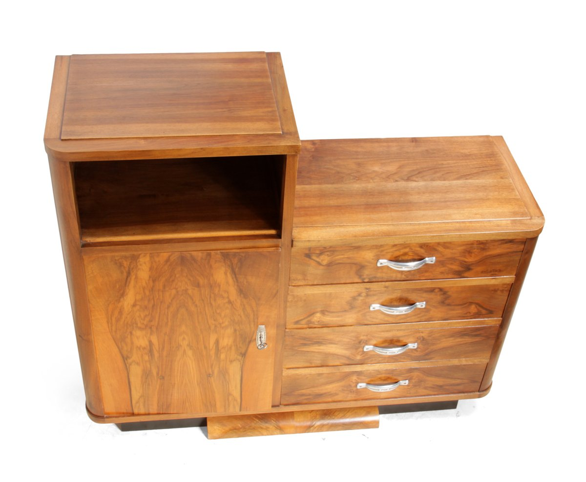 Art deco walnut cabinet 1930s for sale at pamono for Meuble art deco 1930