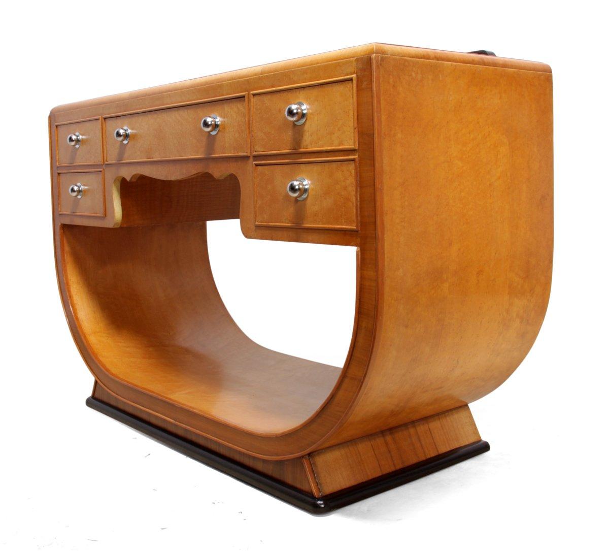 Art deco dressing table in birds eye maple s for sale