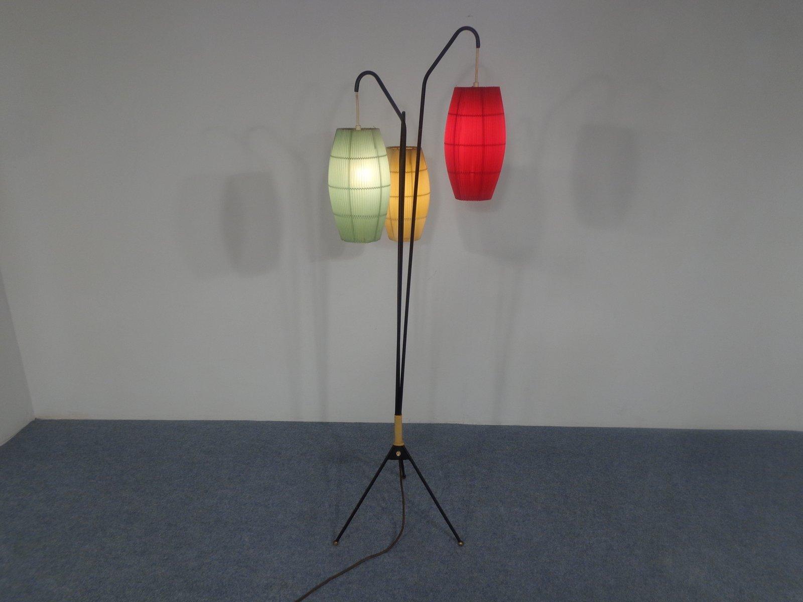 dreibein stehlampe mit drei leuchten 1950er bei pamono kaufen. Black Bedroom Furniture Sets. Home Design Ideas