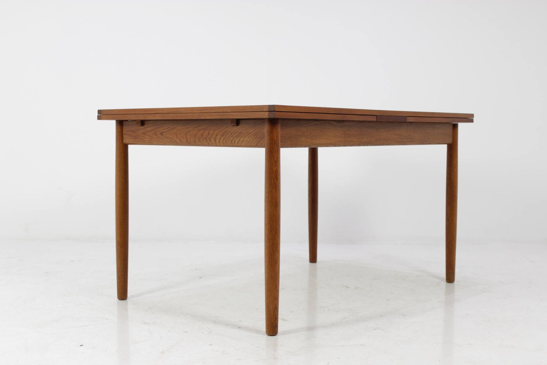 Mid Century Danish Teak Dining Table With Extension Leaves