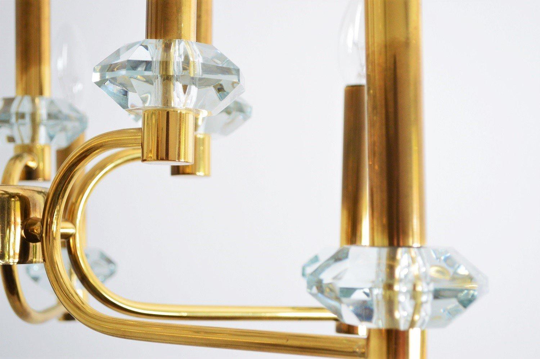 vintage messing glas kronleuchter mit 12 leuchten. Black Bedroom Furniture Sets. Home Design Ideas