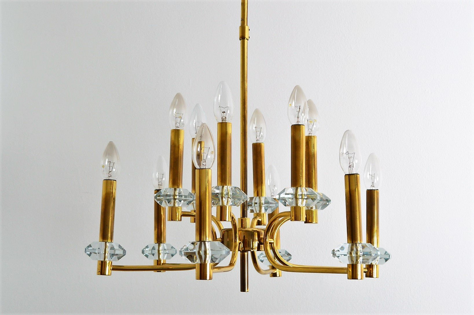 Vintage brass and glass chandelier with 12 lights 1960s for sale vintage brass and glass chandelier with 12 lights 1960s for sale at pamono mozeypictures Images