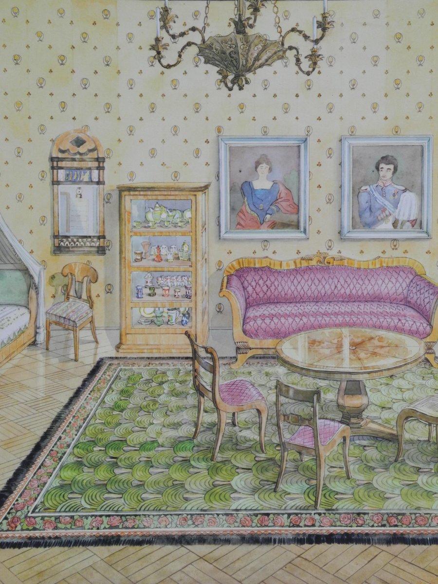 Tableau mural d cole vintage int rieur poque biedermeier for Ecole d art mural