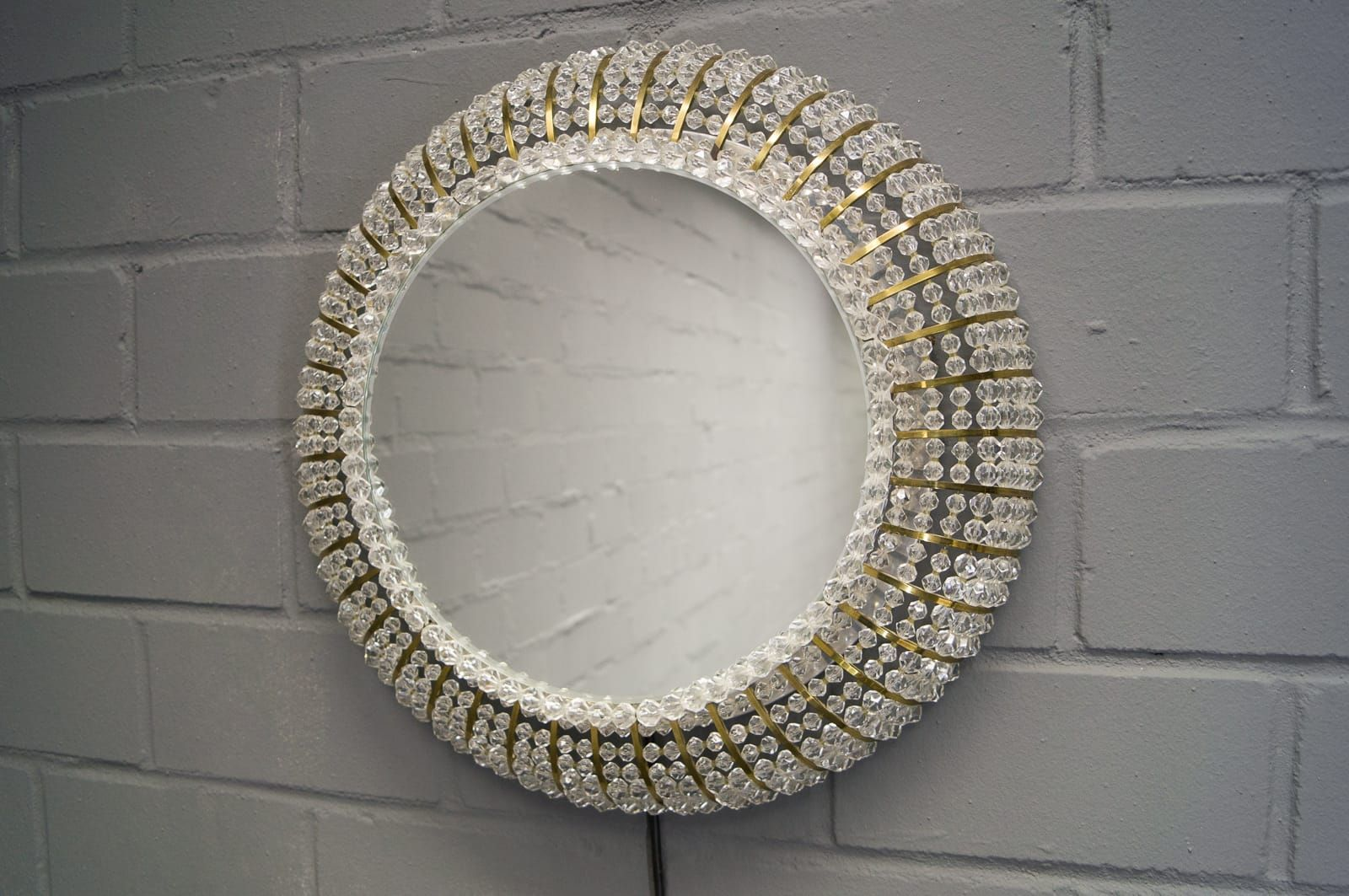 Crystal Wall Mirror vintage swiss illuminated glass crystal wall mirror for sale at pamono