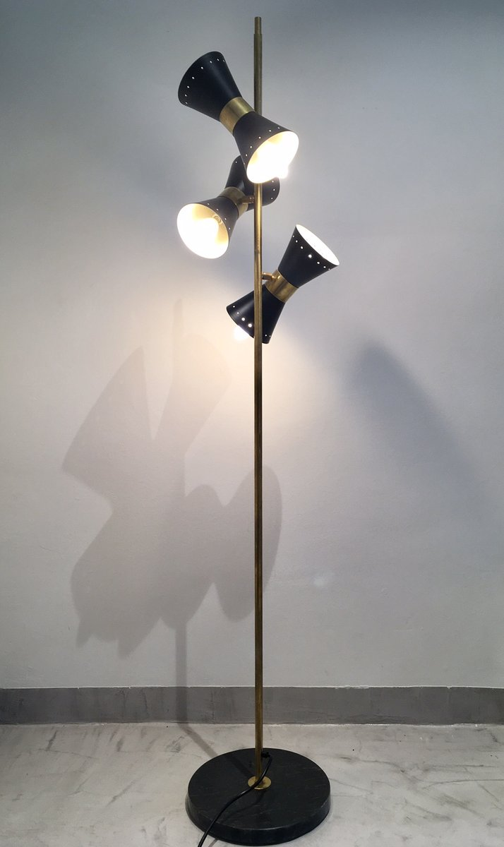 Vintage brass floor lamp with adjustable black metal for Vintage floor lamp with metal shade