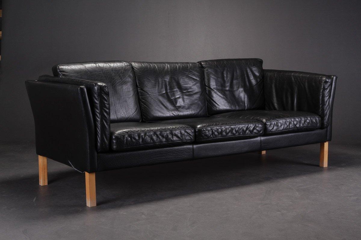 Vintage Black Leather Sofa