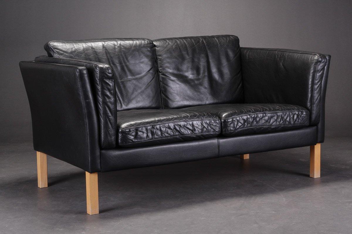 Vintage Danish Black Leather Sofas Set of 2 for sale at Pamono