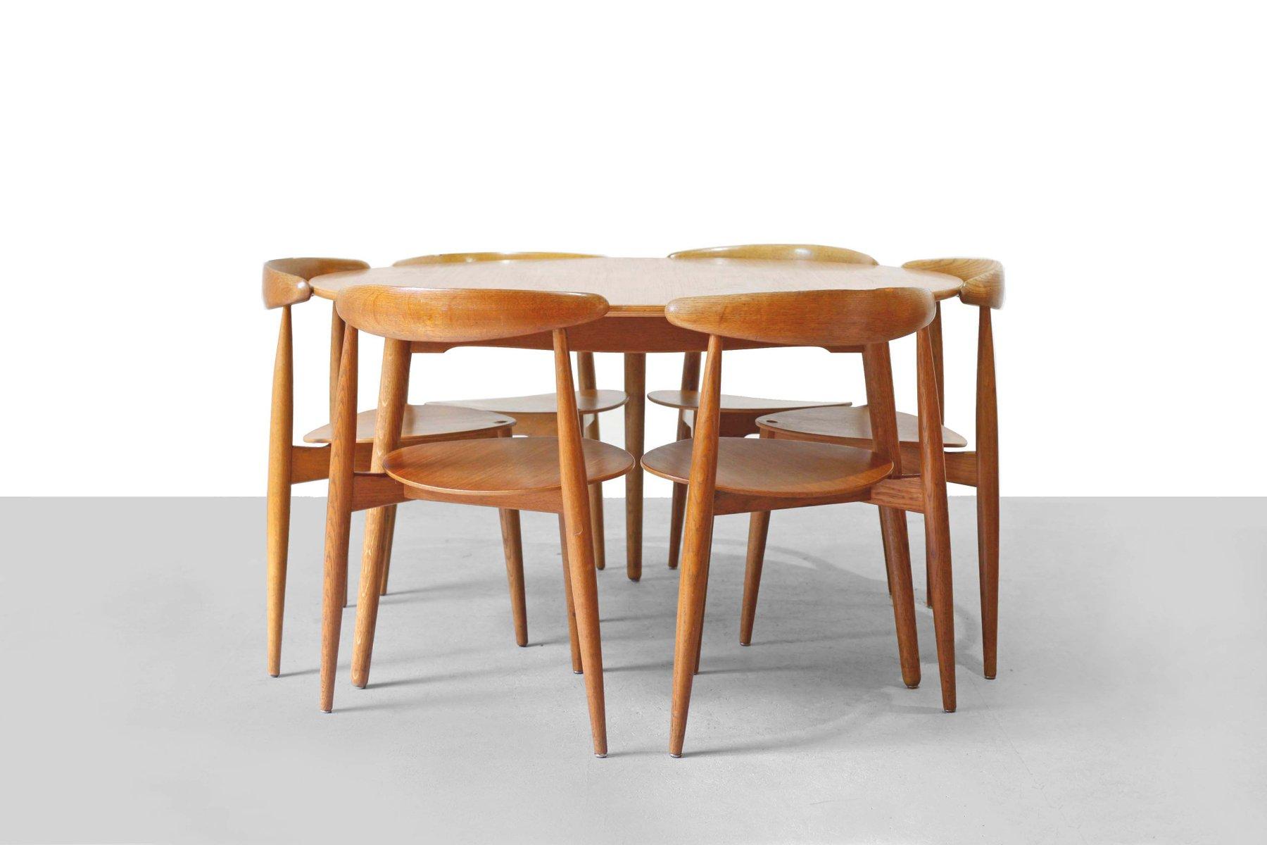teak esszimmer set von hans wegner f r fritz hansen 1952 bei pamono kaufen. Black Bedroom Furniture Sets. Home Design Ideas