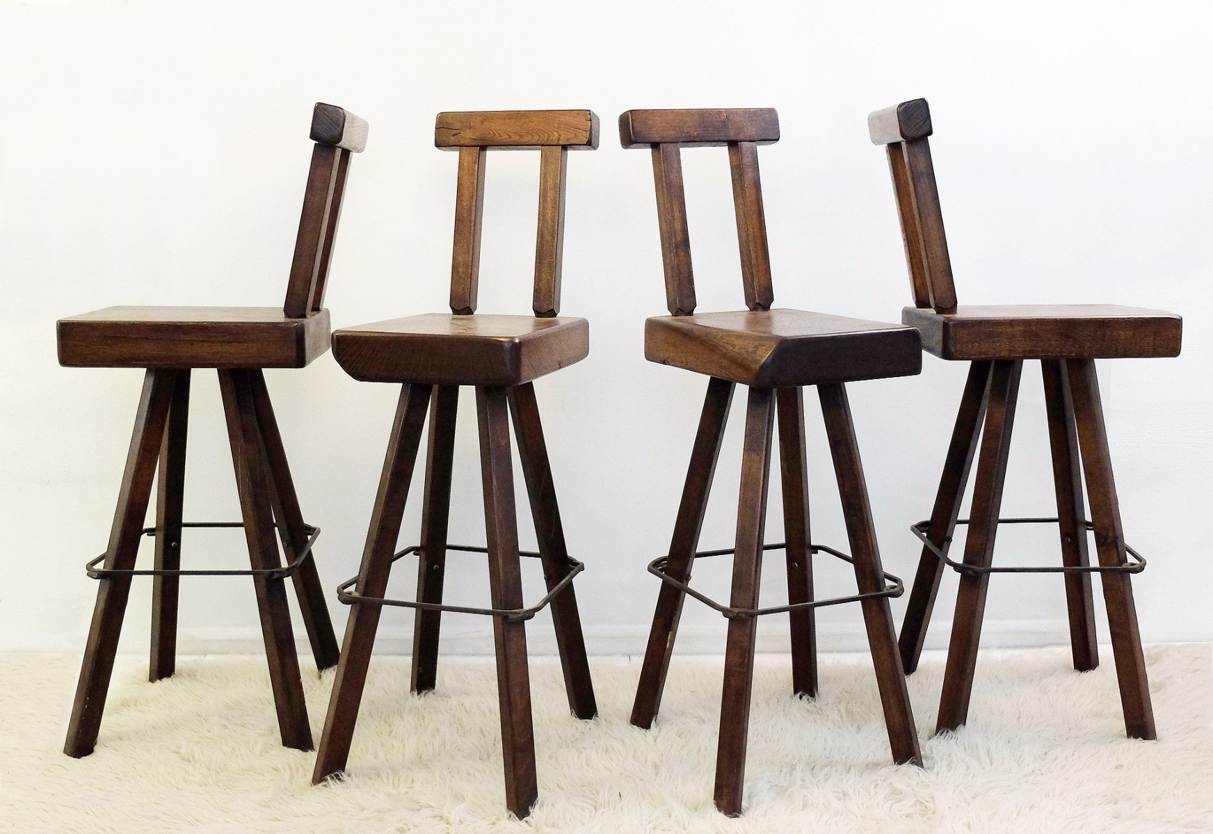 Solid wood swivel bar stools set of for sale at pamono