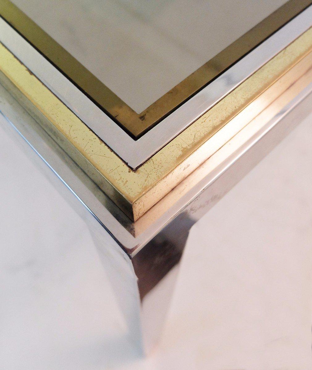 Vintage Rectangular Brass, Chrome, U0026 Smoked Glass Dining Table