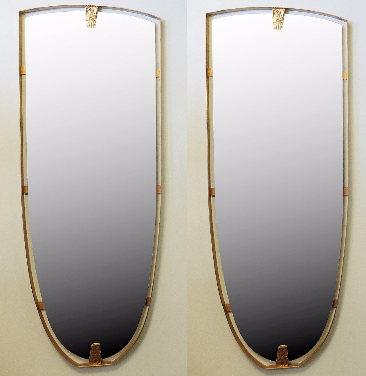 Large vintage brass mirrors set of 2 for sale at pamono for Big mirrors for sale