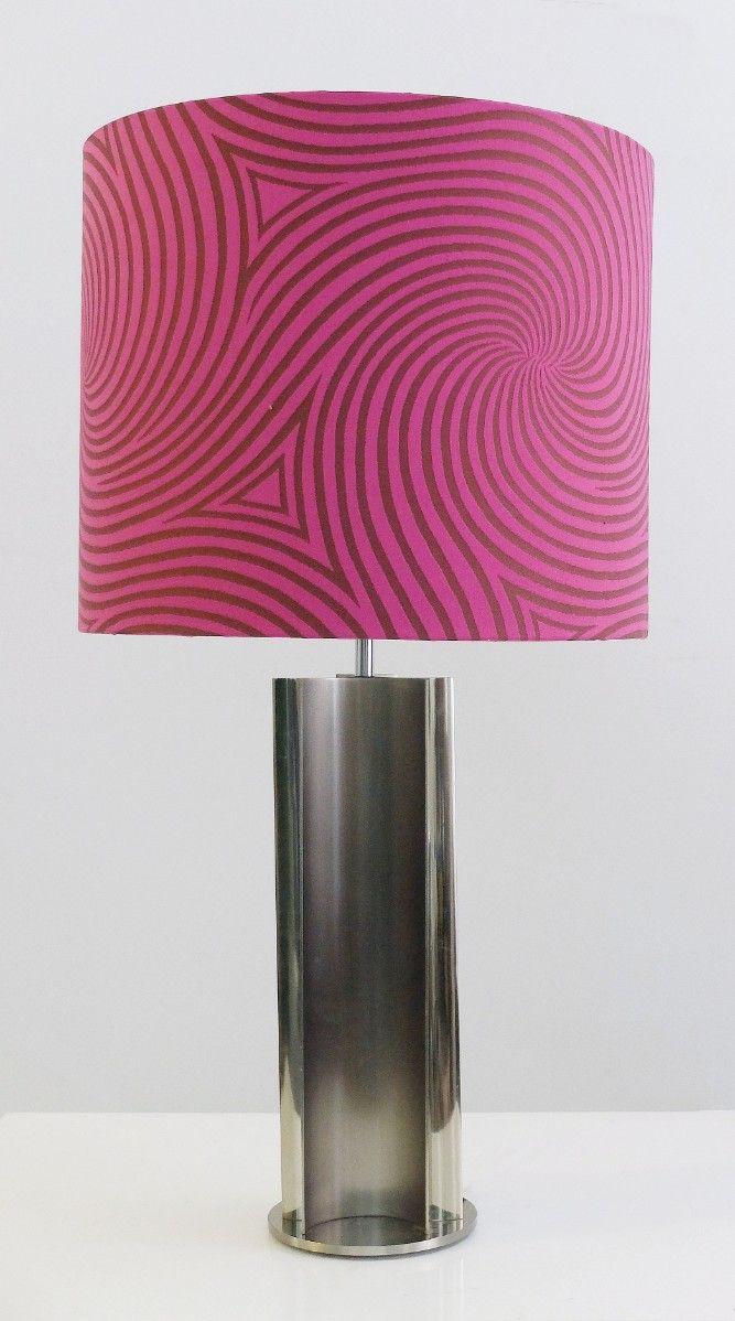 Lampade da tavolo vintage cromate con paralumi rosa anni - Lampade da tavolo vintage ...