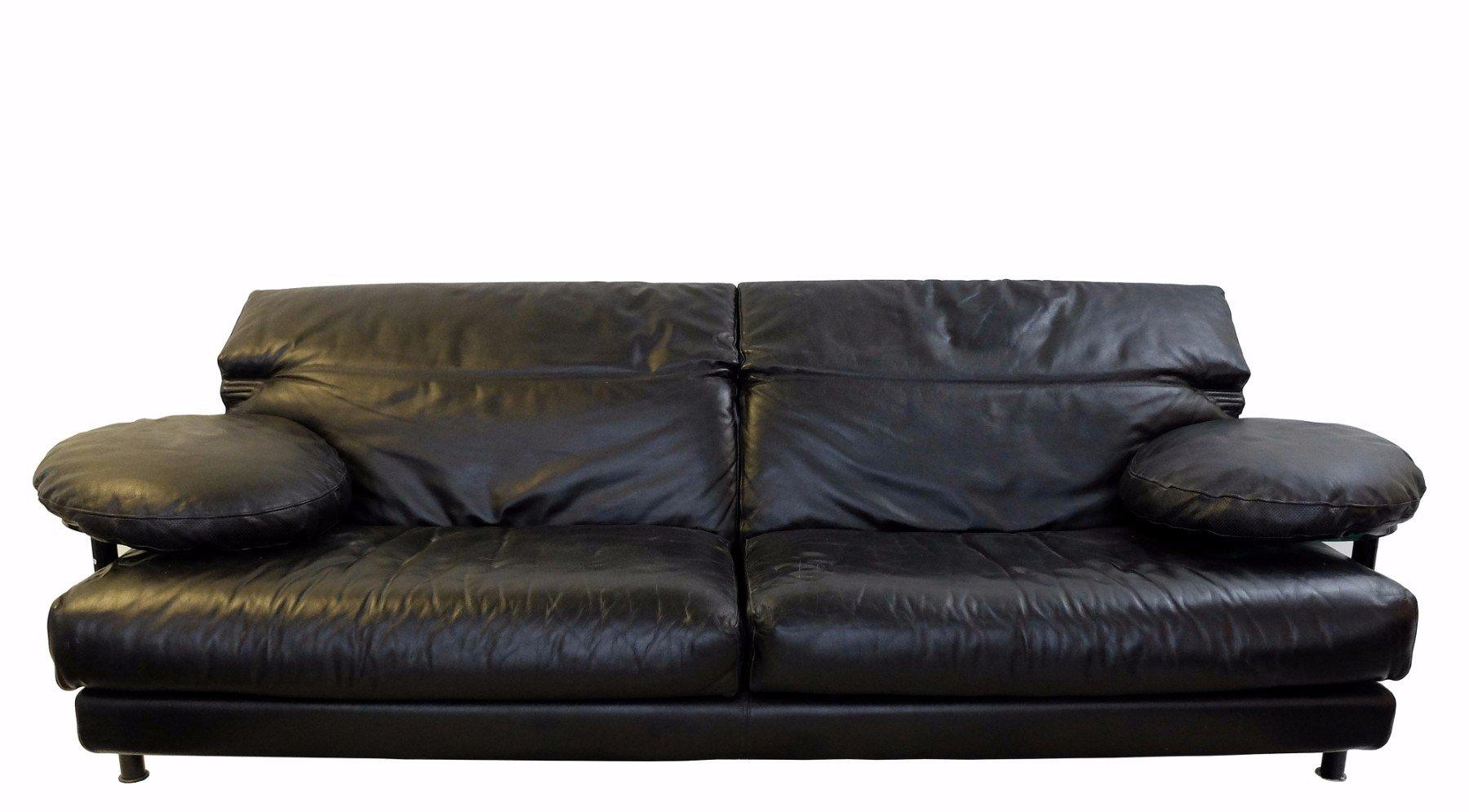 Vintage arca black leather sofa by paolo piva for b b italia for sale at pamono B b italia sofa for sale