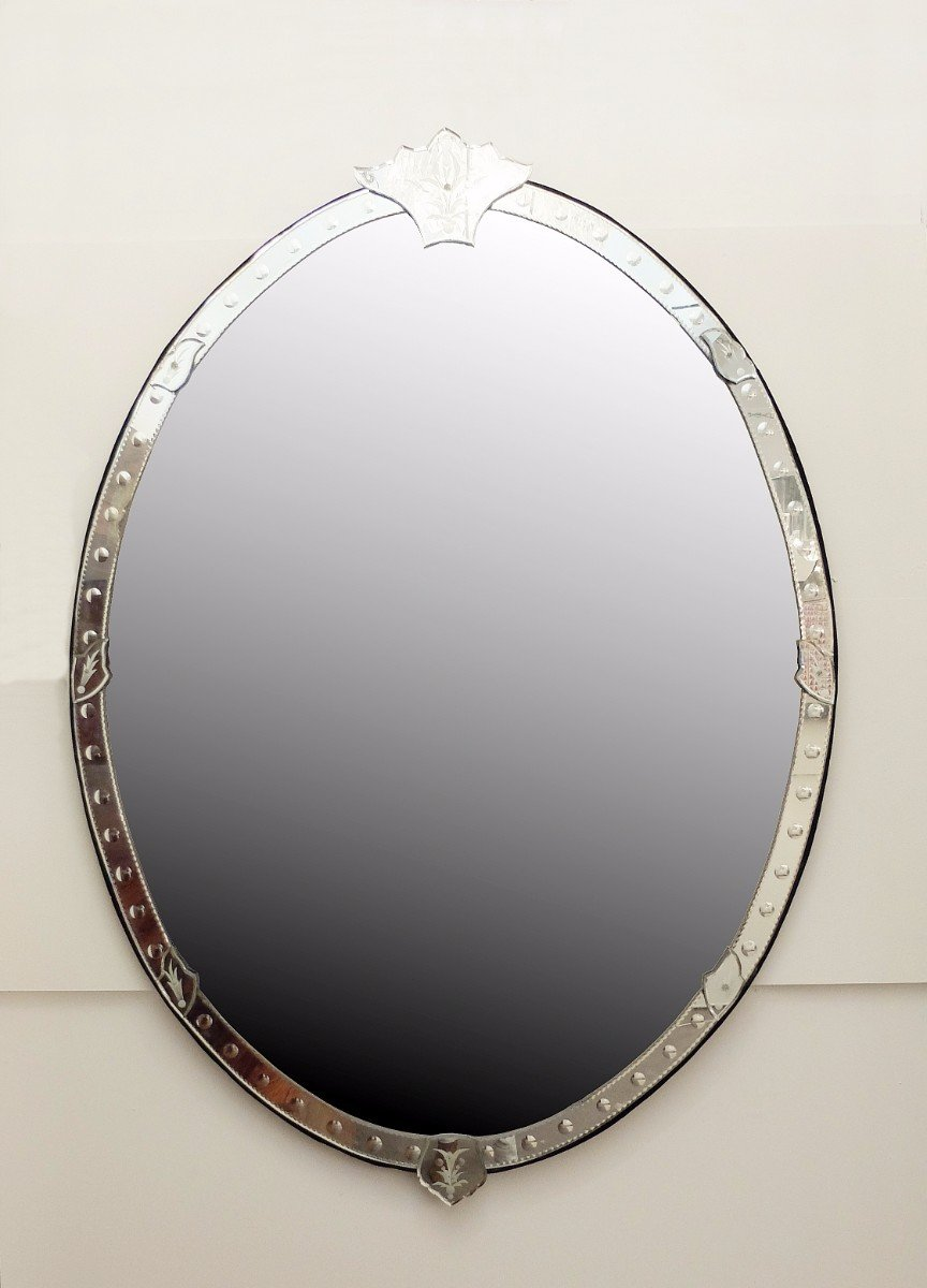 very large oval shaped venetian mirror for sale at pamono. Black Bedroom Furniture Sets. Home Design Ideas