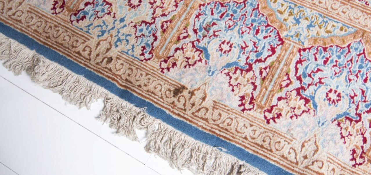 grand tapis vintage bleu rouge rose et beige iran en. Black Bedroom Furniture Sets. Home Design Ideas