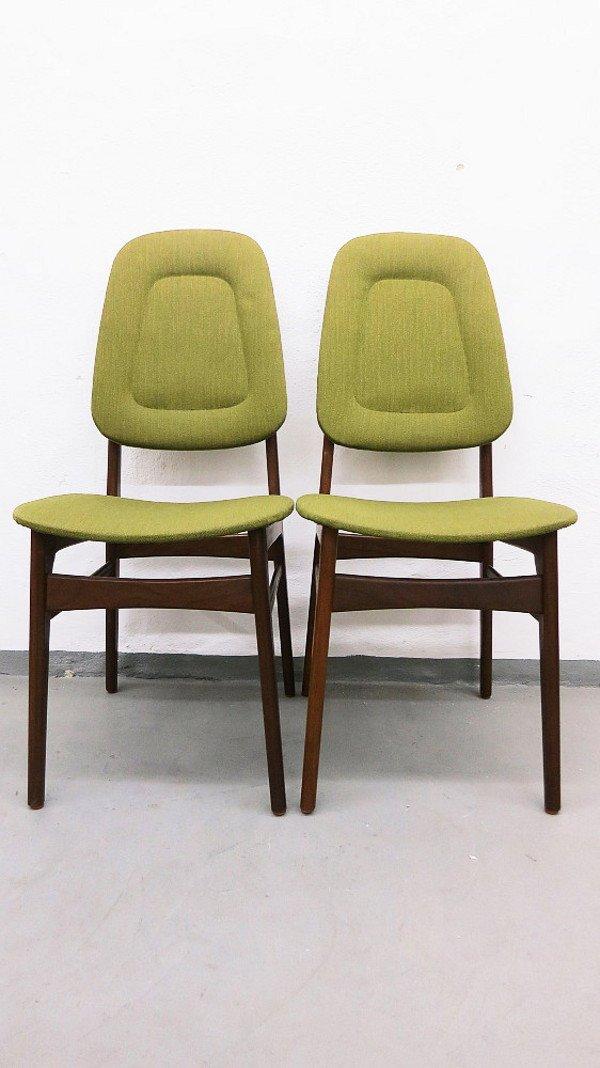 Mid Century Danish Teak Chairs With Light Green Fabric