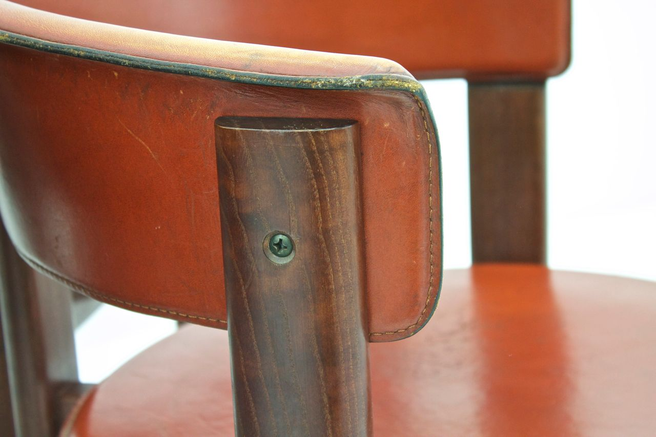 Vintage Italian Leather & Walnut Dining Room Chairs by Cassina ...
