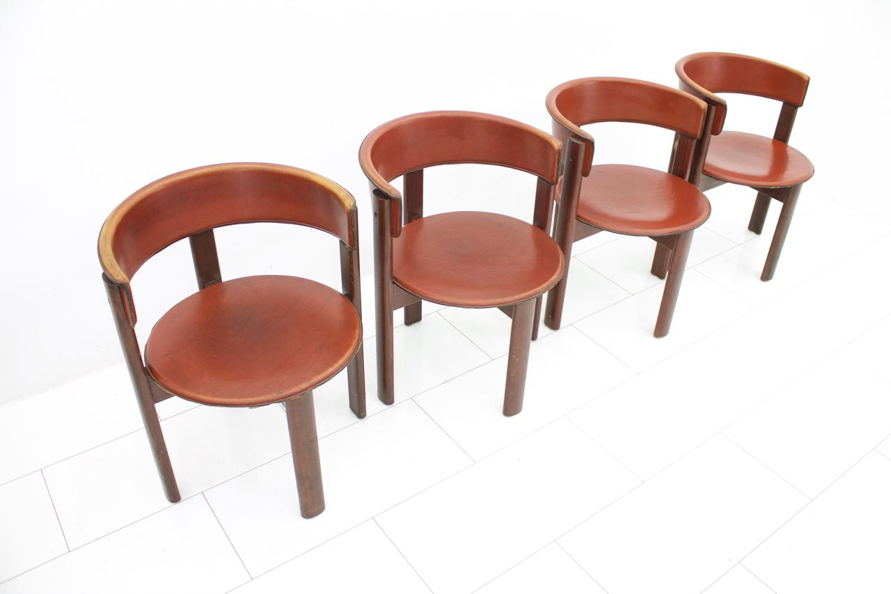 Vintage italian leather walnut dining room chairs by for Leather kitchen chairs for sale