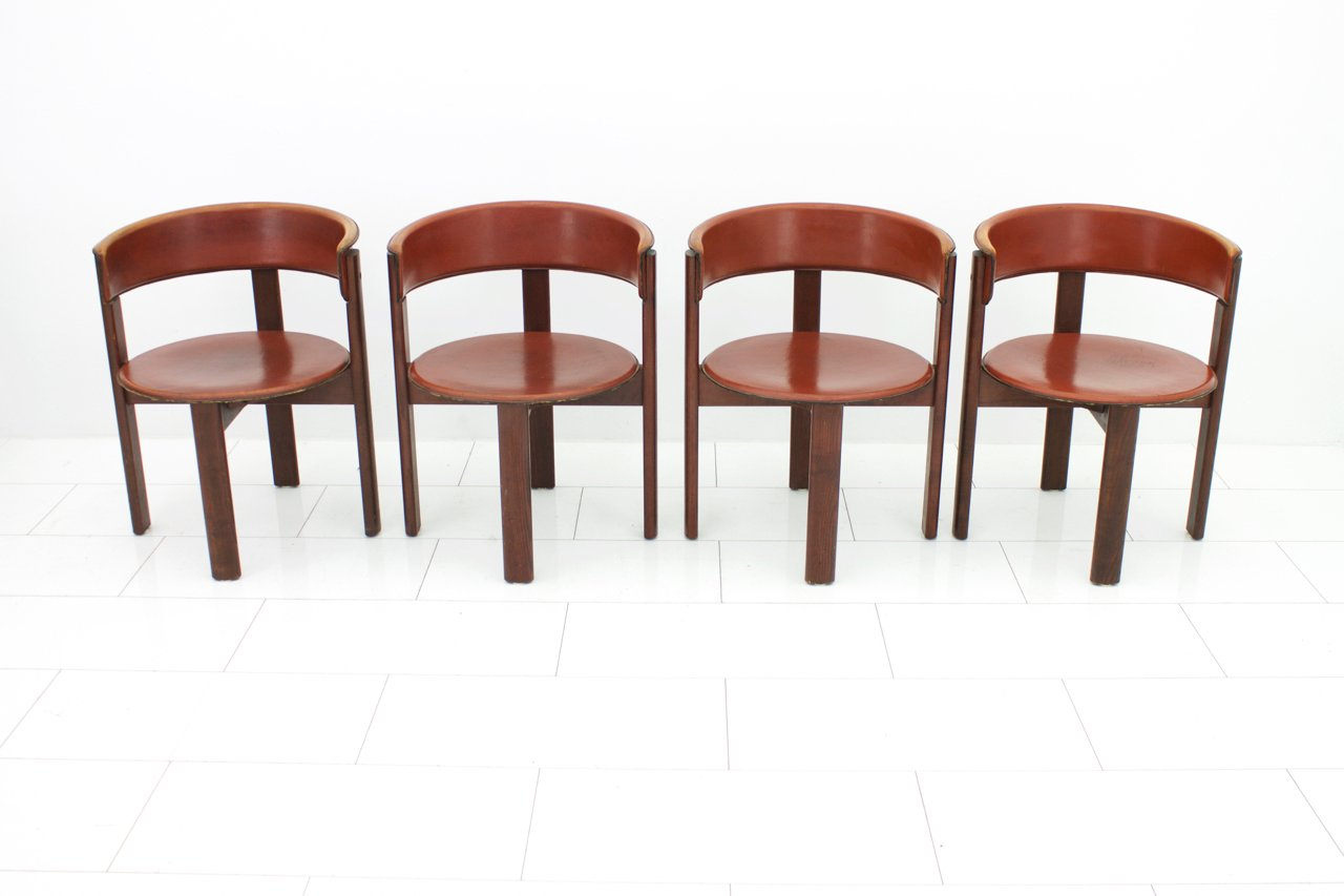 vintage italian leather walnut dining room chairs by cassina 1970s