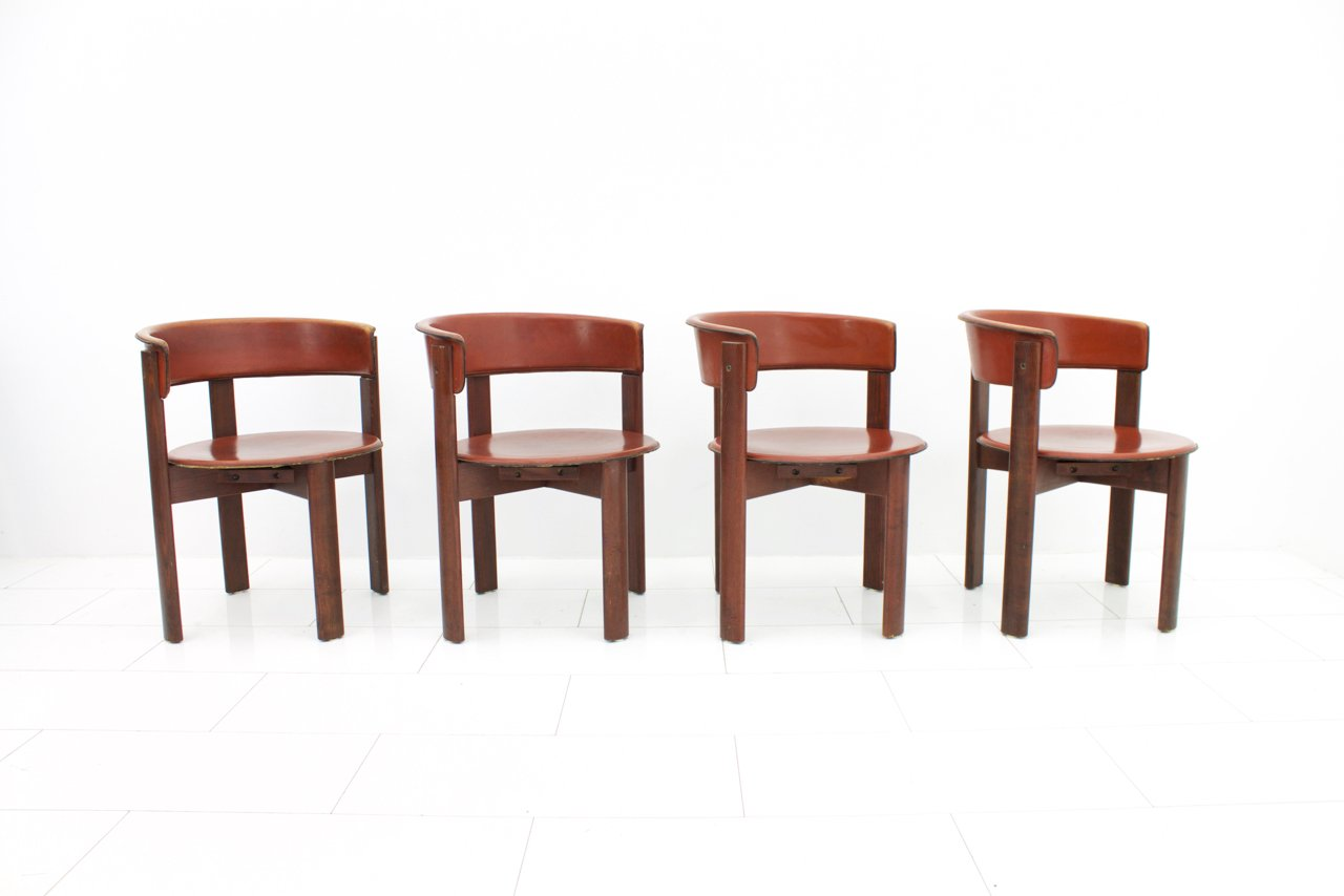 Vintage italian leather walnut dining room chairs by cassina 1970s set of 4 for sale at pamono - Retro dining room chairs ...