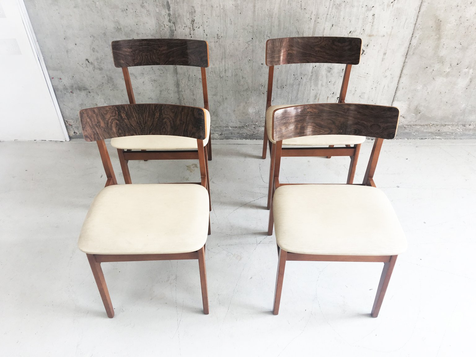 Vintage Teak Amp Vinyl Dining Chairs Set Of 4 For Sale At