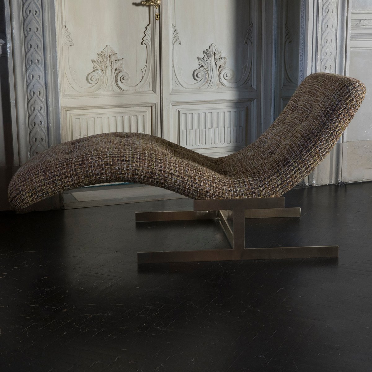 vintage chaise lounge with wool boucl fabric 1970s for. Black Bedroom Furniture Sets. Home Design Ideas