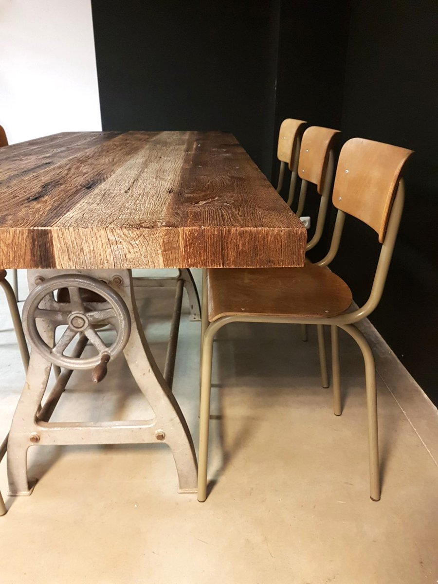 vintage industrial dining table for sale at pamono. Black Bedroom Furniture Sets. Home Design Ideas