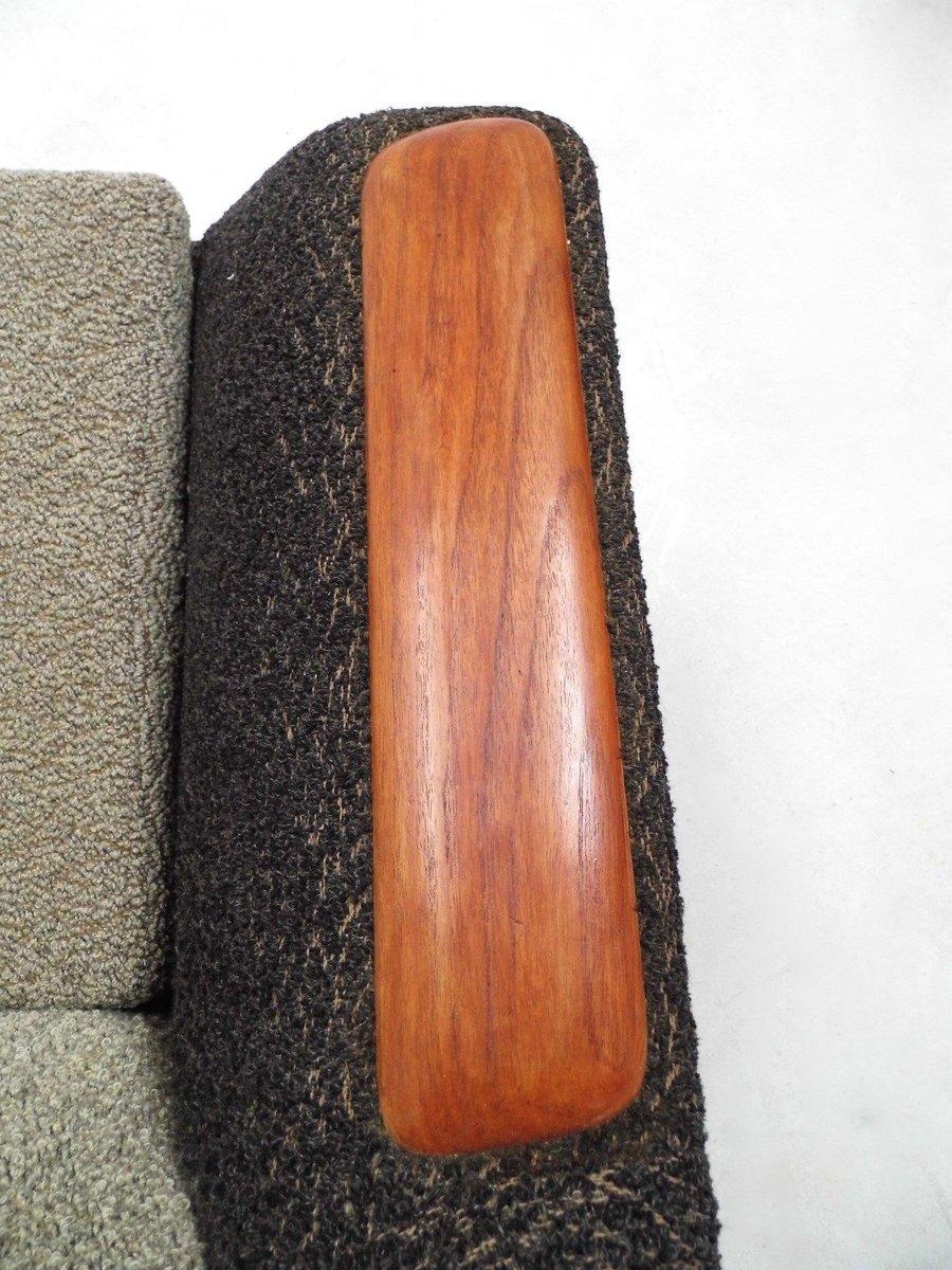skandinavischer teak sessel mit dunkelgrauem wollbezug. Black Bedroom Furniture Sets. Home Design Ideas